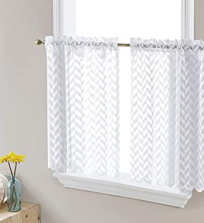 HLC.ME Herringbone Semi Sheer Voile Kitchen Cafe Curtain Panels - Rod Pocket - Tiers, Swags & Valances for Small Windows &...