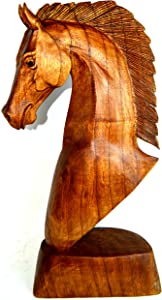 """Huge 20"""" Hand Carved Mahogany Horse Head Bust Western Statue"""