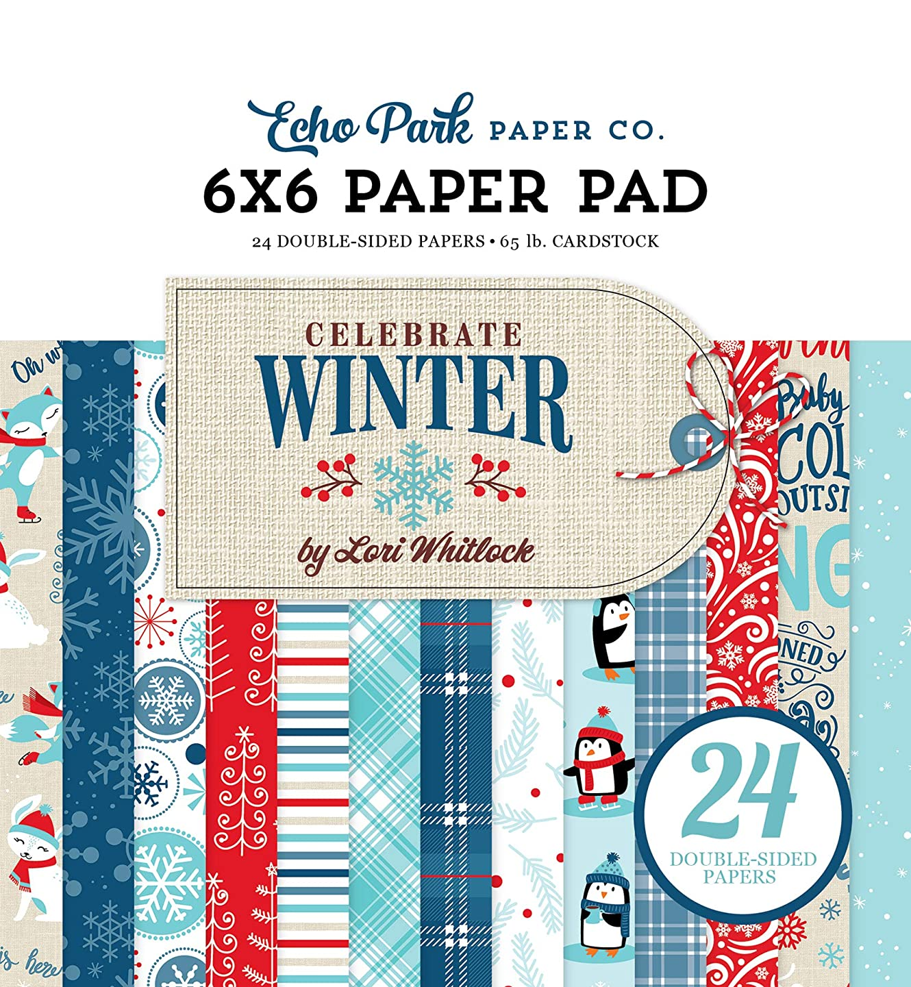 Echo Park Paper Company CW162023 Celebrate Winter 6x6 Pad Paper, red, Blue, Navy, Green, White