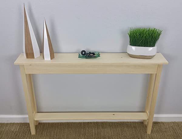 46 Unfinished Pine Narrow Wall Foyer Sofa Console Hall Table With Bottom Shelf
