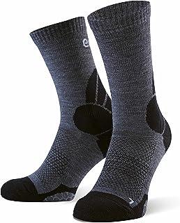 by Amazon - Calcetines de senderismo y trekking de lana merino para hombre y mujer (paquete de 2 uds.), tallas 35-38, Gris-Negro