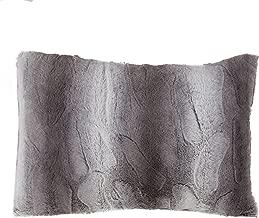 SARO LIFESTYLE Wilma Collection Timeless Animal Print Faux Fur Poly Filled Throw Pillow, 14 x 20, Grey