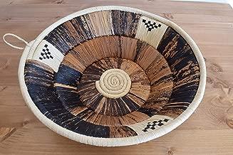 Hand Woven African Basket - 12 Inches Sisal & Banana Fibers Basket - Handmade in Uganda - Light Tan, Different Shades of Brown, UB12