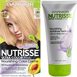 Garnier Nutrisse Ultra Color Hair Color & Anti-Brass Treatment, LB2 Ultra Light Natural Blonde, 2 count
