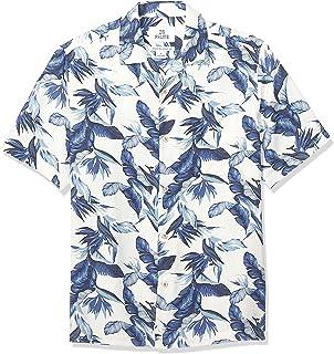 28 Palms Men's Relaxed-Fit 100% Textured Silk Tropical Hawaiian Shirt