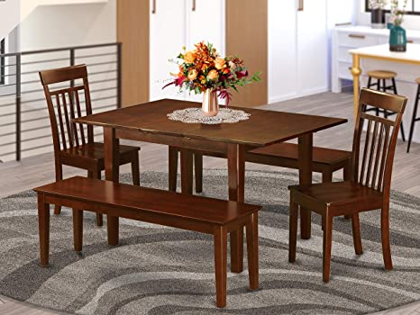 Amazon Com 5 Pc Dinette Set For Small Spaces Tables And 2 Chairs For Dining Room And 2 Benches Furniture Decor