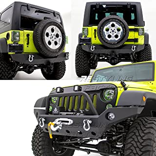 Restyling Factory -Rock Crawler Full Width Front Bumper w/ Winch Plate+Rear Bumper with 2