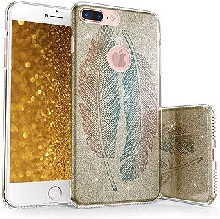 真正的彩色手机壳可与 iPhone 7 Plus 闪光手机壳,闪闪发光彩色羽毛印花三层混合质感手机壳金色防震 TPU 外壳