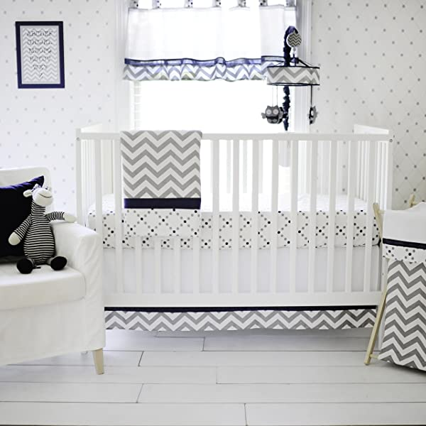 My Baby Sam Out Of The Blue Crib Set Navy Gray