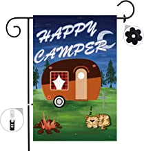 Bonsai Tree Camping Happy Camper Summer Burlap Garden Flag Banner Decorative Outdoor Double Sided Yard Flag 12 x 18 Prime