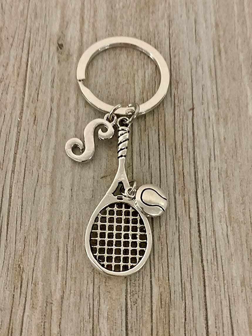 Personalized Tennis Racquet Keychain with Letter Charm, Custom Tennis Gift, Girls Tennis Jewelry, Perfect Gift for Tennis Players, Tennis Team, Tennis Coaches