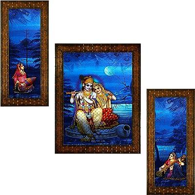 Indianara Set of 3 Radha Krishna Paintings (2463) Without Glass 6 X 13, 10.2 X 13, 6 X 13 INCH
