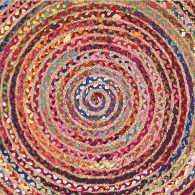 Safavieh Cape Cod Collection CAP702Q Hand-Woven Area Rug, 4' x 4' Round, Red/Multi