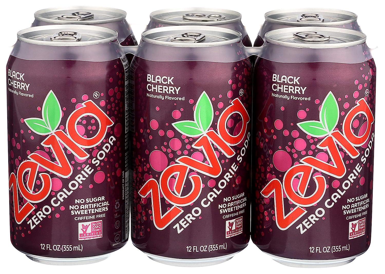 Zevia All Natural Soda, Black Cherry Zero, 12 Fl Oz (Pack of 6)