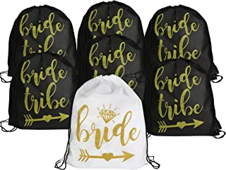 Bride and Bride Tribe Drawstring Bags - Set of 7 14.5 inches x 17.5 inches Black and Glittery Gold Drawstring Bachelorette Party Backpacks, Perfect for Hangover Kit for Bride and Bridesmaids (7)