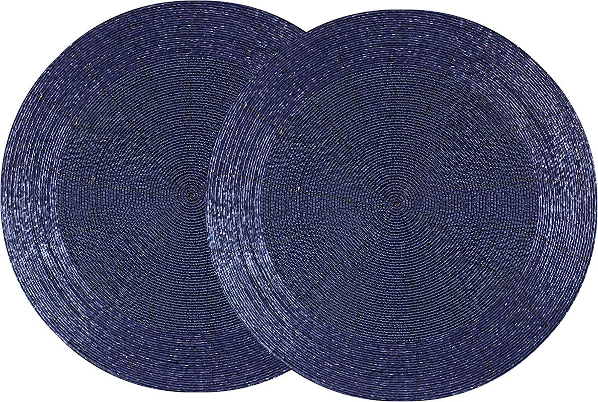 Cotton Craft 2 Pack Beaded Placemat Set Round Hand Beaded Charger Placemat Navy 13 5 Inches Round Hand Made By Skilled Artisans A Beautiful Complement To Your Dinner Table D Cor