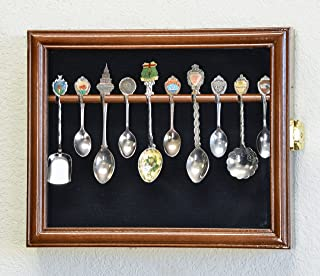 10 Spoon Display Case Cabinet Holder Rack Wall Mounted -Walnut Finish