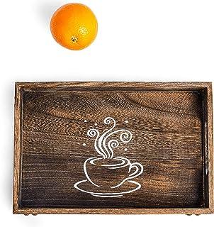 سینی سرویس Sufandly با دستگیره ، الگوی های کوچک سینی قهوه غذاها را نوشیدنی مستطیل چوبی سینی صبحانه 11.8X 7.9 اینچ