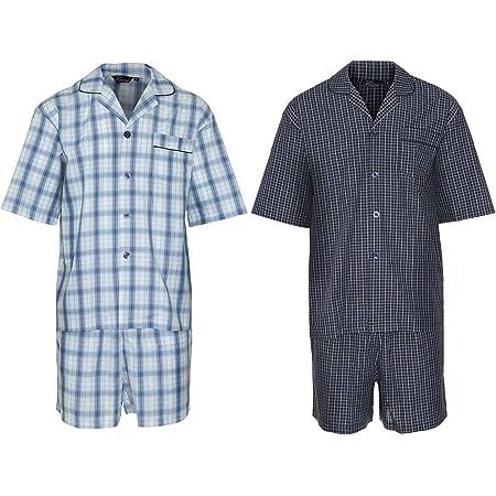 2 Pack Mens Champion Luxury Polycotton Short Pyjama Lounge Wear Pajama