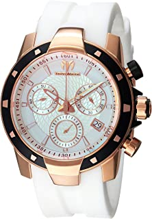 Men's UF6 Gold Quartz Watch with Silicone Strap, White, 0.9 (Model: TM-615006)