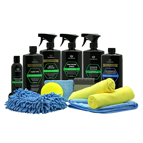 Car Wash Kit Complete Detailing Supplies for Cleaning. Soap, Wax, Tire Shine, Trim Restorer, Wash Mitt, Applicator, Microfiber Towel, Best Value to care for truck. TriNova.