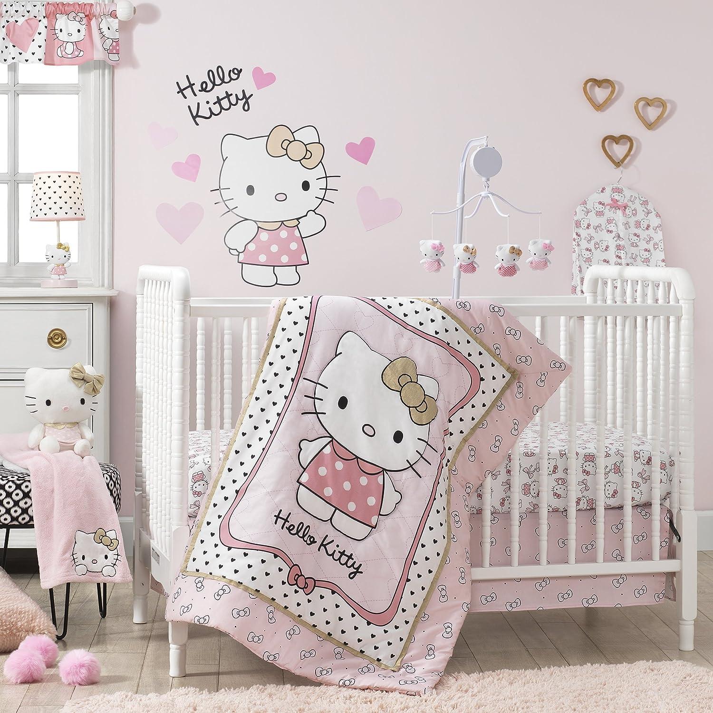 Bedtime Originals Hello Kitty Luv Hearts 3 Piece Crib Bedding Set, Pink gold