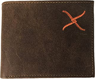 Twisted X Brown Leather Bi-fold Wallet with Orange Twisted X Logo