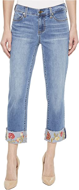 Liverpool Josie Embroidered Wide Cuff Capris in Vintage Super Comfort Stretch Denim in Bridgeport