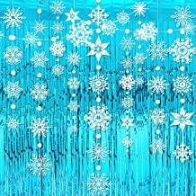 4 Pieces Snowflake Garlands Blue Metallic Tinsel Curtains Winter Hanging Snowflakes Foil Fringe Curtain Photo Booth Props ...