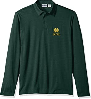 NCAA Notre Dame Fighting Irish Men's Campus Specialties Long Sleeve Polo Shirt, Heather Green, Large