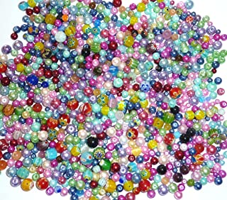 Assorted Beads, Loose Beads for Craft DIY Projects, Beading Kit, Pearls and Millefori Beads, Jewelry Making Kit (3/4 Pounds of Assorted Beads)