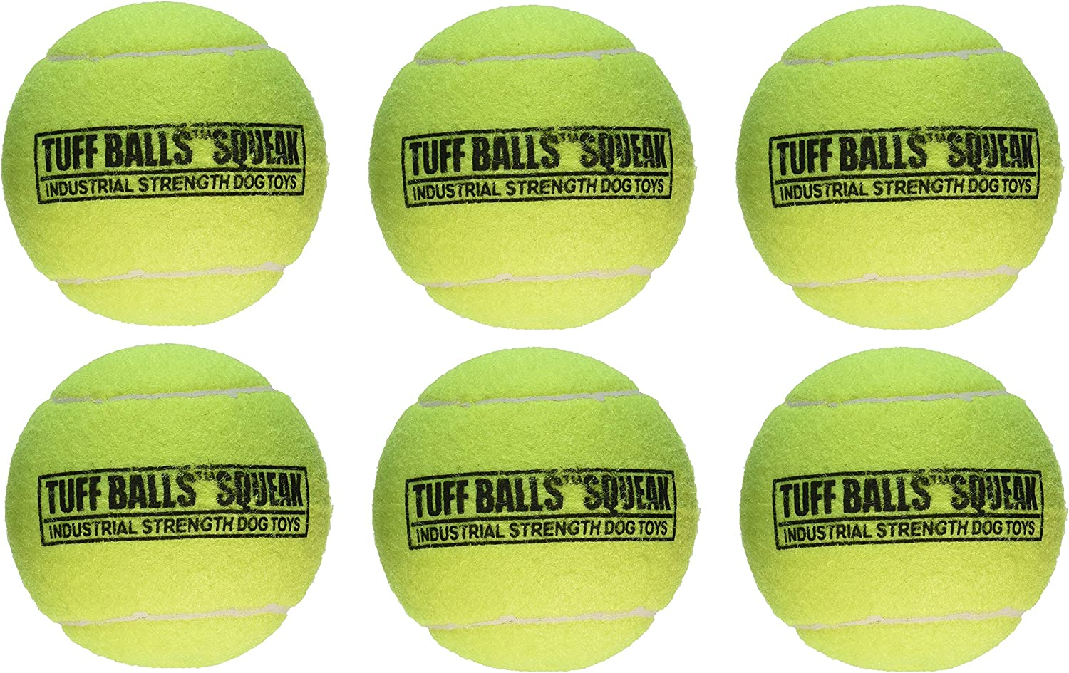 (6 Pack) PetSport Giant Tuff Squeaker Tennis Ball for Dogs  4 Inch