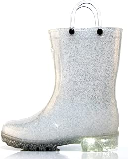 Outee Girls Kids Adorable Glitter Light Up Rain Boots