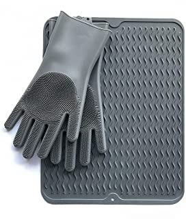 Healthy Home Silicone Dish Drying Mat with Raised Channels for Faster Drying Efficiency and FREE Long Dishwashing Gloves