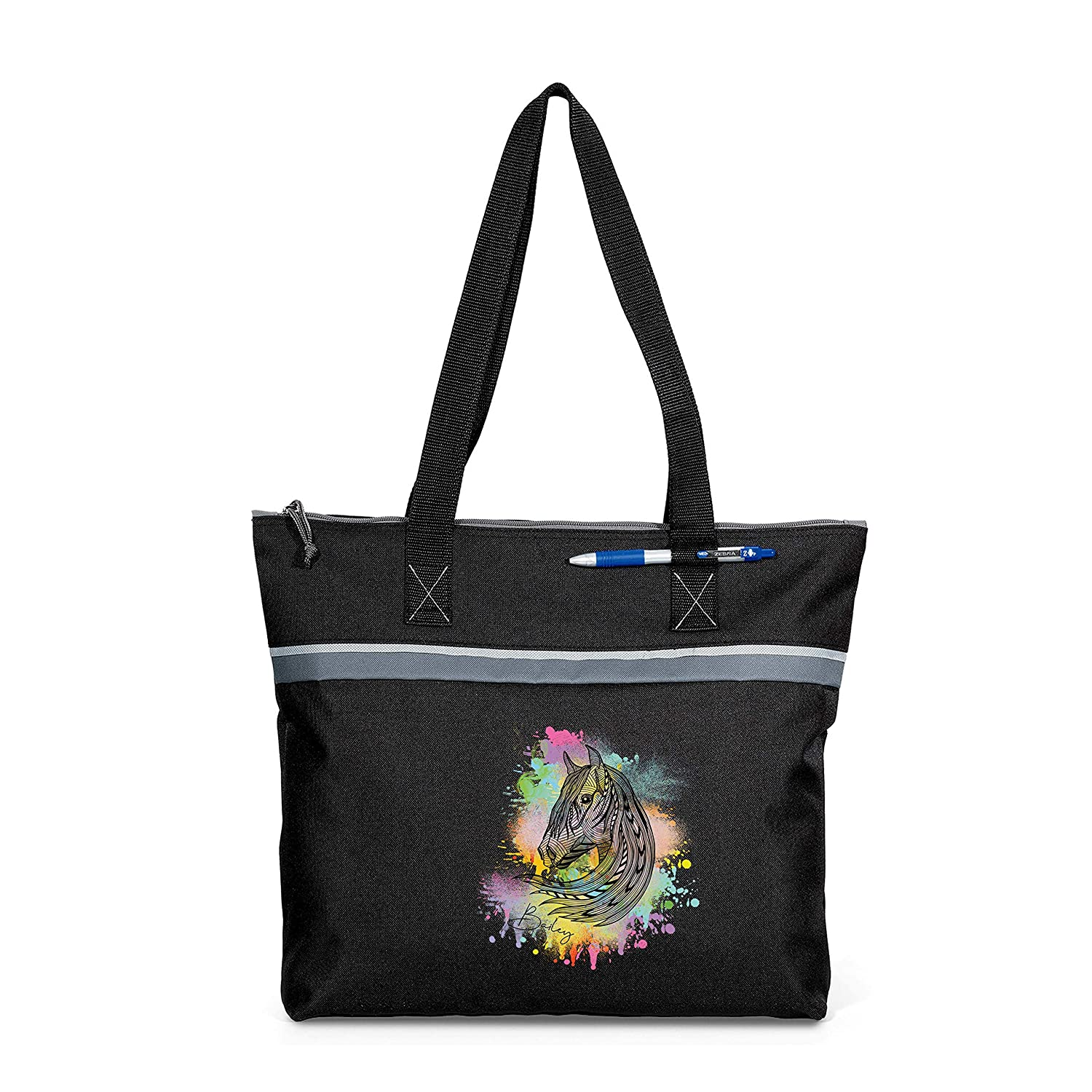 Hand Drawn Horse Head Personalized Tote Limited price sale Beach Our shop most popular Small Printed