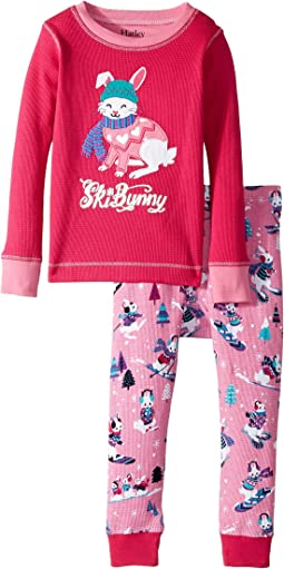 Hatley Kids - Ski Bunny Waffle PJ Set (Toddler/Little Kids/Big Kids)