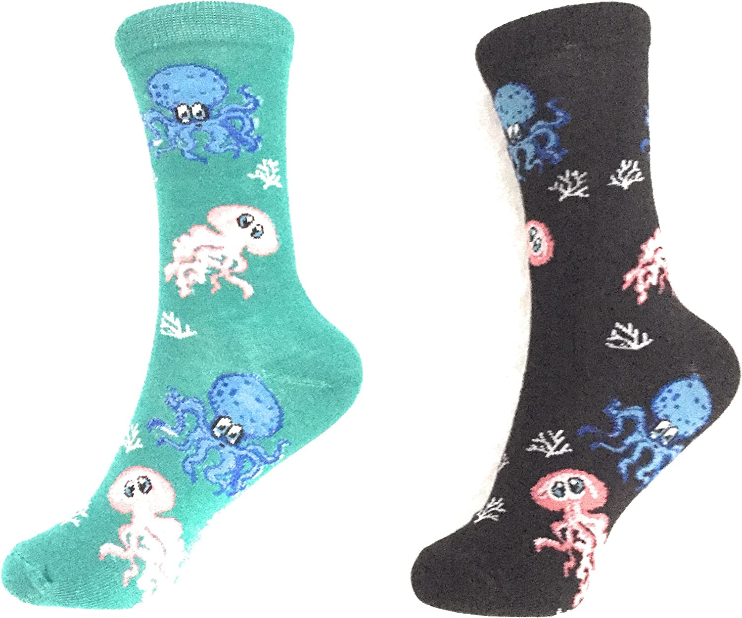 2 Pack Socks Octopus Pattern Novelty Crew Socks Fun Fashion Casual Comfy Cozy (2 Pack)