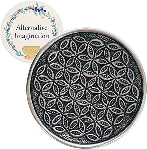new arrival Alternative Imagination Flower of Life Incense Burner Plate. Made from Recycled Aluminum. for Meditation, outlet sale high quality Yoga, Aromatherapy, Home Fragrance online sale