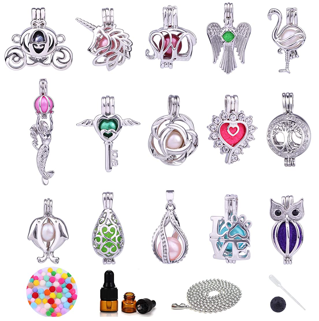 15pcs Mix White Gold Plated Copper Pumpkin Carriage Elephant Unicorn Mermaid Flower Pearl Bead Cage Locket Pendants for Jewelry Making Essential Oil Scent Diffuser Locket Pendants Christmas Gift