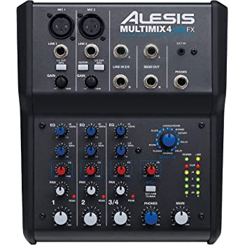 Alesis MultiMix 4 USB FX   4 Channel Compact Studio Mixer with Built In Effects & USB Audio Interface for Home Studio Recording