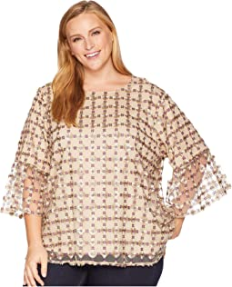 Plus Size Embroidered Net Bell Sleeve Blouse