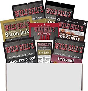 Wild Bill's 8-Piece Sampler Gift Box (includes beef jerky, bacon jerky and pork belly bites)