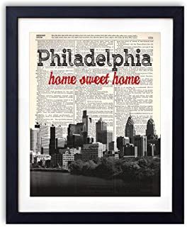 Philadelphia Home Sweet Home Vintage Upcycled Dictionary Art Print 8×10