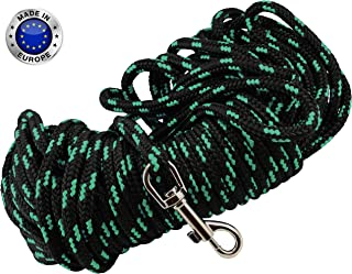 Dogs My Love Extra Long Nylon Rope Leash 15ft 30ft 45ft 60ft Lead Tracking Line for Small and Medium Dogs and Puppies Training Black with Green