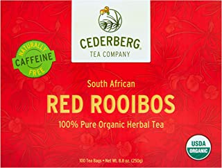 Sponsored Ad - Red Rooibos Tea 100 Teabags USDA Organic - Naturally Caffeine Free - Cederberg Tea Company