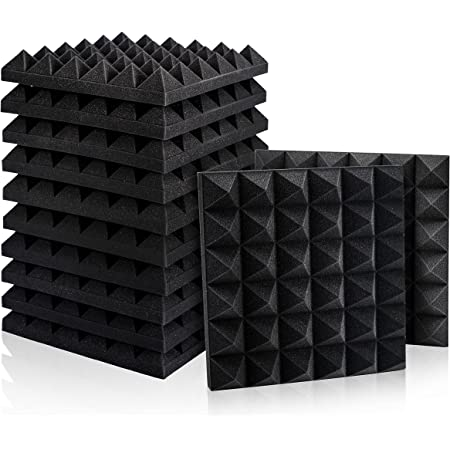 "12 Pack Set Acoustic Foam Panels, Studio Wedge Tiles, 2"" X 12"" X 12"" Acoustic Foam Sound Absorption Pyramid Studio Treatment Wall Panels"