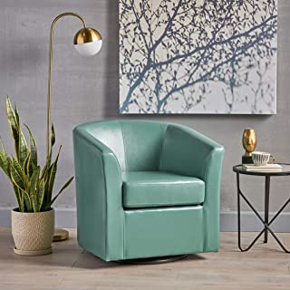 turquoise leather club chair