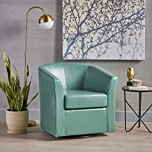 Great Deal Furniture Corley | Leather Swivel Club Chair | in Turquoise
