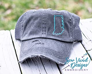 Indiana Home Hat | Distressed Baseball Cap OR Ponytail Hat | Personalized Embroidered State Hat for Women