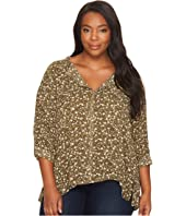 B Collection by Bobeau - Plus Size Pleat Back Blouse